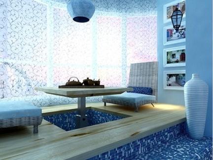 蓝色地中海风格阳台榻榻米设计图