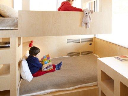 简约风格设计儿童房原木色上下层婴儿床设计图