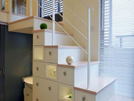 个性现代楼梯储物柜装修设计