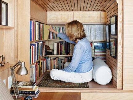 田园风格书房原木色的书架的设计效果图