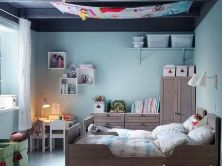 130平方北欧清新设计蓝色卧室吊顶图