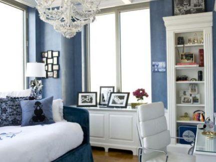 奢华欧式书房白色装饰柜图片欣赏