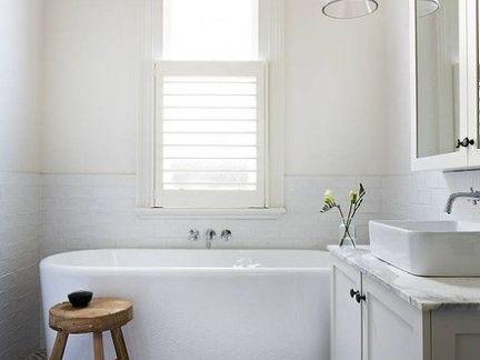 时尚美式淋浴间白色浴室柜装修设计