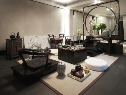 中式复古客厅实木家具装修设计