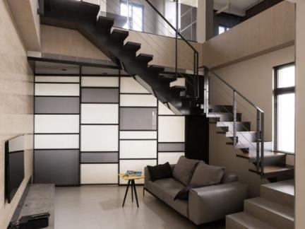 极简风格黑白复式楼客厅样板间