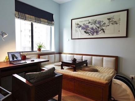 温馨中式书房原木色实木榻榻米装修设计