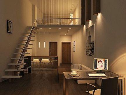 现代简约书房白色楼梯效果图