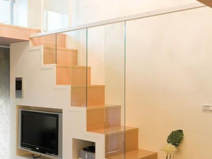 时尚现代风格客厅白色楼梯设计效果图