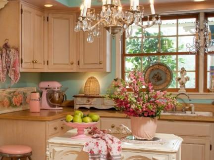 简约田园风格厨房配白色橱柜装修效果图