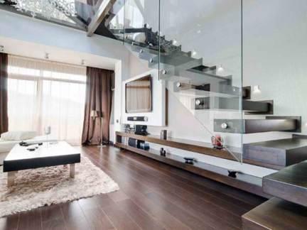 现代简约风格客厅咖啡色楼梯效果图