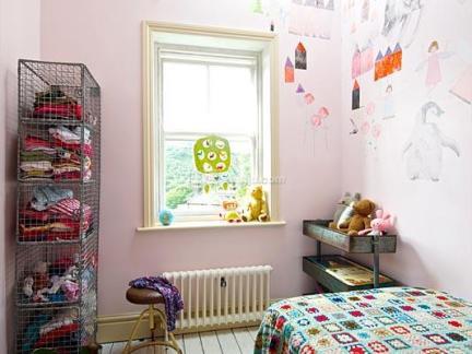 粉色现代儿童房墙面壁纸效果图欣赏