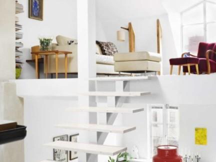 简约现代风格客厅白色楼梯设计效果图