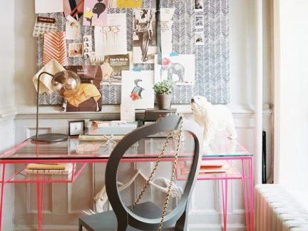 简欧小型书房粉色玻璃书桌装修设计