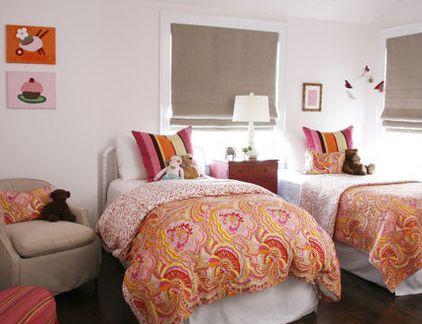 现代中式风格卧室配双人橙色床装修效果图