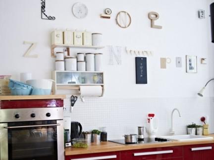 清新北欧厨房红色橱柜门装修设计