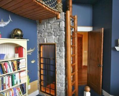 地中海风格儿童房配白色书架装修效果图