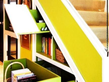 时尚混搭复式客厅彩色楼梯储物柜装修设计