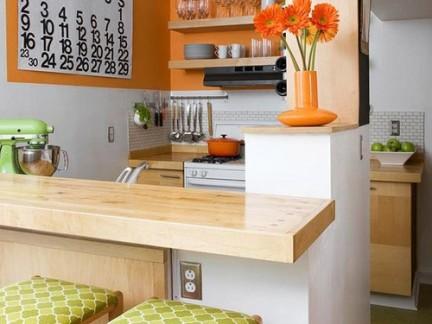中式风格厨房时尚的原木色吧台效果图