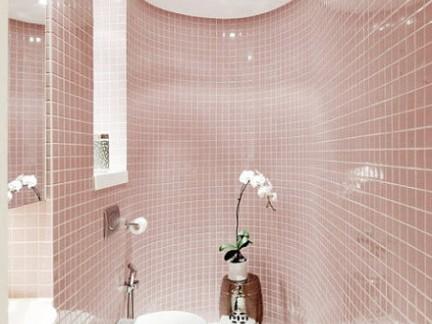 时尚简约卫生间淋浴间粉色墙面瓷砖图片欣赏