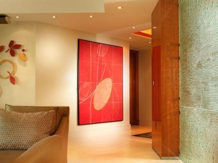 现代简约雅致玄关红色装饰画效果图大全
