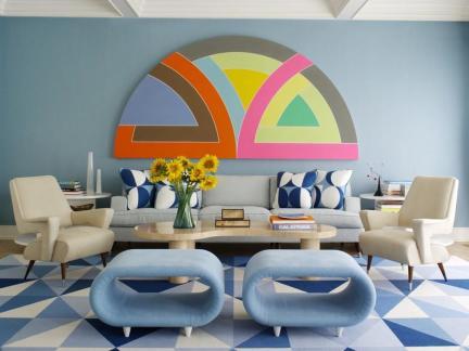 混搭式客厅蓝色壁纸效果图