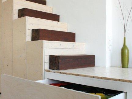 简约现代风格客厅原木色楼梯设计效果图