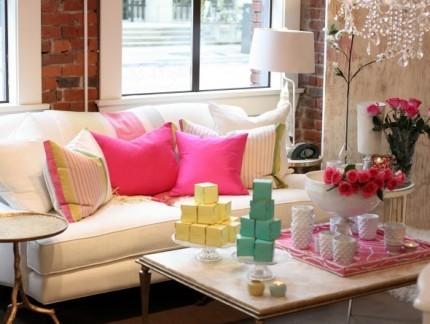 甜美温馨美式风格客厅彩色抱枕图片集锦