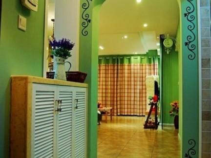 优雅地中海风格玄关绿色背景墙效果图大全