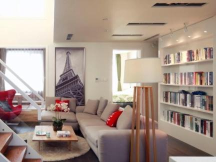 创意宜家风格客厅白色书柜设计
