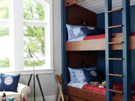 中式风格儿童房原木色上下床装修效果图