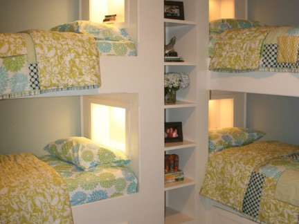 简约式风格儿童房搭配白色简单上下床设计图