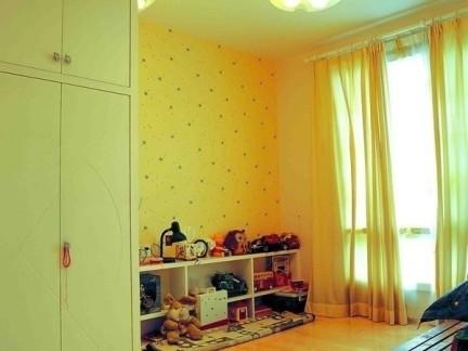 黄色现代简约式风格卧室榻榻米装修设计图