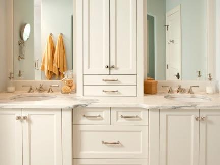 时尚简欧淋浴间白色浴室柜装修设计