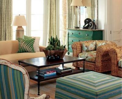 美式乡村风情青绿客厅沙发摆放图