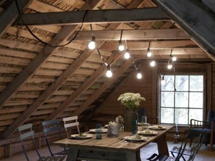 美式风格原木色阁楼实木家具装修设计