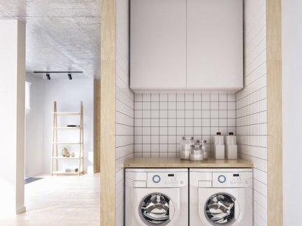现代简约公寓洗衣房白色吊柜装修设计