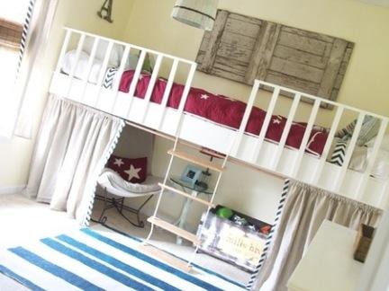 中式风格儿童房白色床效果图