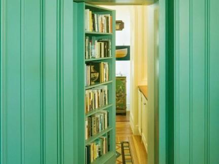 欧式风格客厅绿色书柜效果图