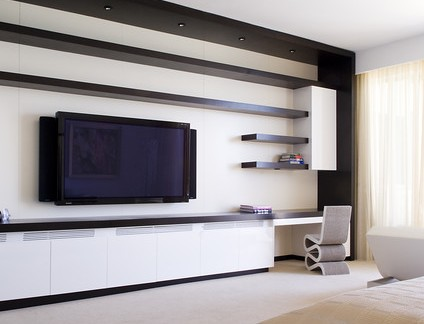 简约风格卧室配白色电视柜装修效果图