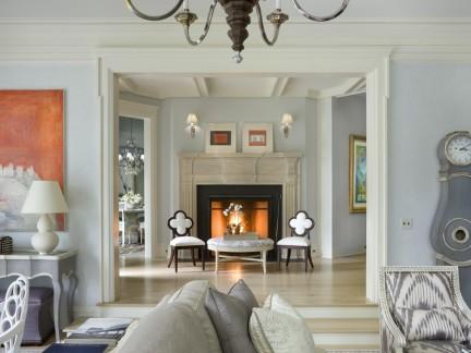 现代欧式风格客厅淡淡的蓝色背景墙效果图
