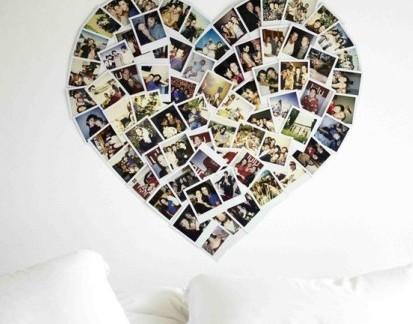 简约风卧室白色背景照片墙效果图