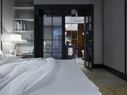 时尚优雅现代简约卧室白色吊顶效果图欣赏