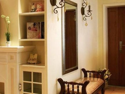 居家欧式进门玄关咖色换鞋凳效果图