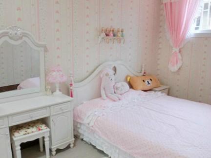 可爱田园风格儿童房白色床头柜实景图