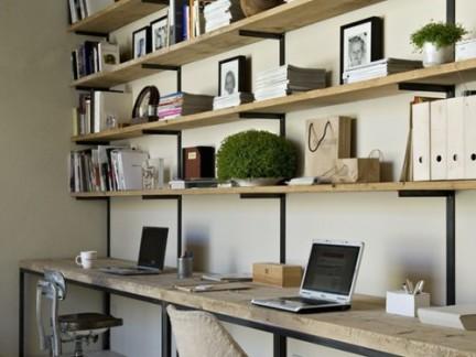 简易家用办公桌书架装修设计