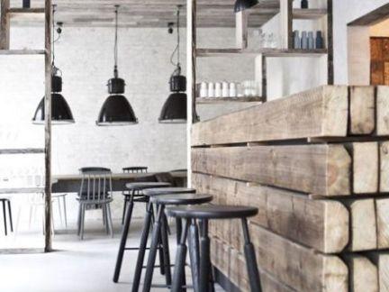 中式风格餐厅原木色吧台实景图