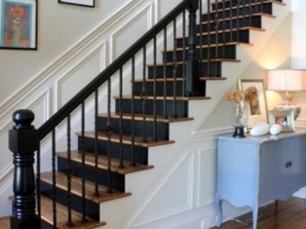 简欧风格黑色个性客厅创意楼梯设计图