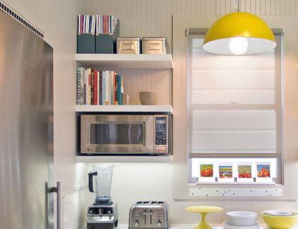 现代田园厨房黄色橱柜吊灯装修图