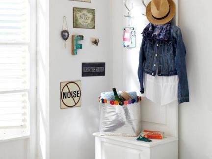 北欧风格玄关白色鞋柜设计效果图