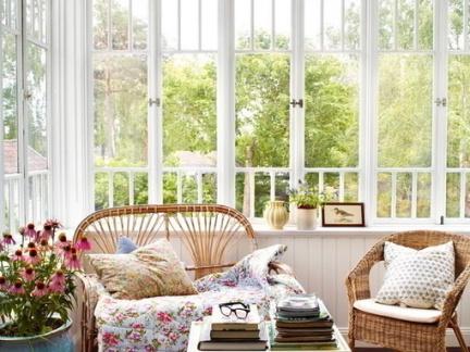 简欧风格阳台白色飘窗案例欣赏